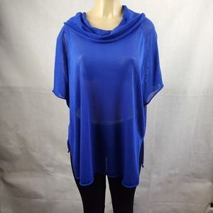 🔴SALE🔴 Chico's Blue Sheer Cowl Pullover Sweater